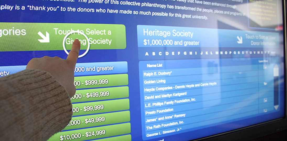 Use interactive donor boards to thank patrons and encourage more donations