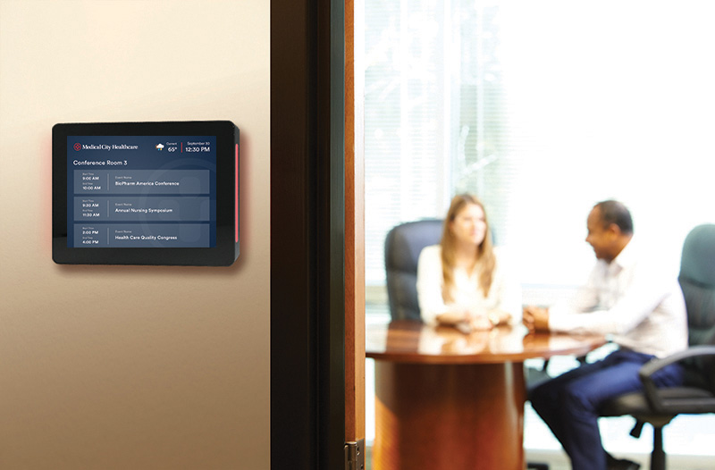 The Touch10 Conference Room Signs show schedules outside rooms and let you book space right at the room sign